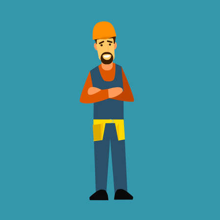 special education: Builder with arms crossed on his chest. Flat design vector symbols.Illustration. Illustration