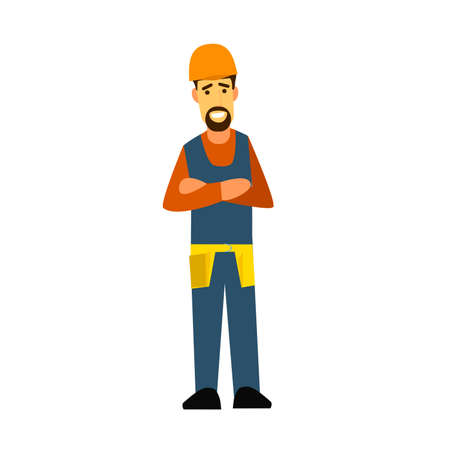 surveying: Builder with arms crossed on his chest. Flat design vector symbols.Illustration. Illustration