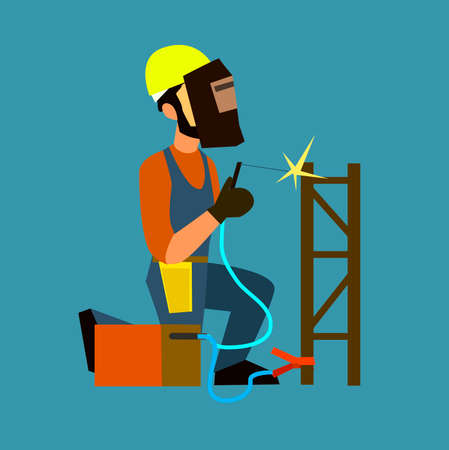 protective mask: Welder in a protective mask working with welding machine. Flat design vector symbols.Illustration.