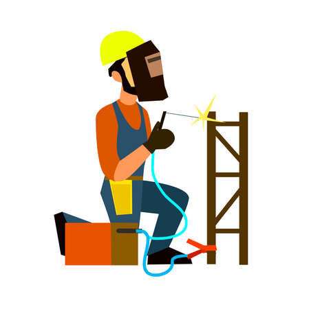 surveying: Welder in a protective mask working with welding machine. Flat design vector symbols.Illustration.