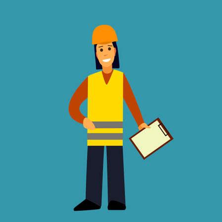 special education: Builder.The girl working was smiling .Flat design vector symbols.Illustration.