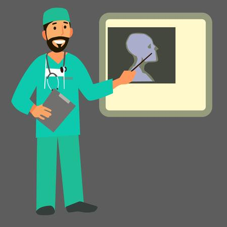 radiological: Smiling doctor showing a pointer on the x-ray picture. Character healthcare concept - vector illustration Illustration