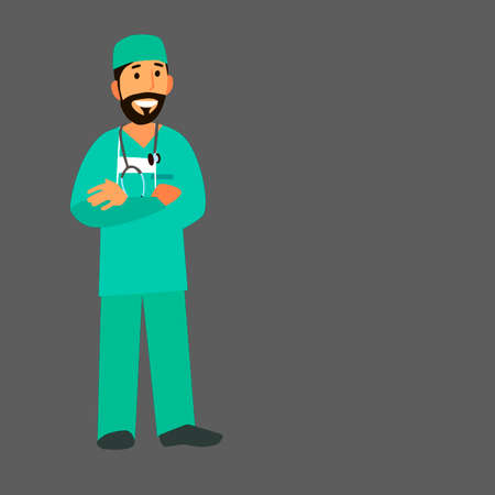 stethoscope boy: A professional doctor on a highlighted background. Character healthcare concept - vector illustration