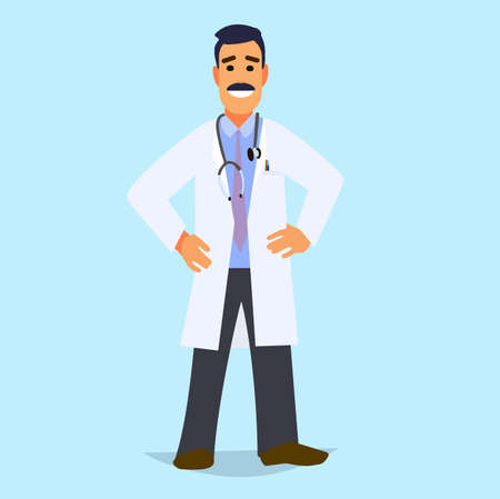 closeup: A professional doctor on a highlighted background. Character healthcare concept - vector illustration