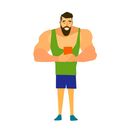 bearded man: Muscular, bearded man smartphone vector illustration.Hipster selfie