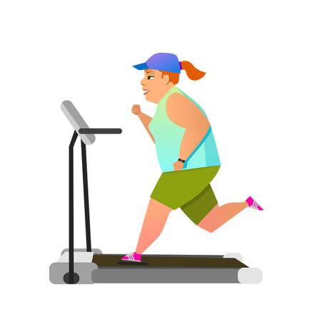 endurance run: Fat girl running on treadmill. Flat style modern vector illustration.