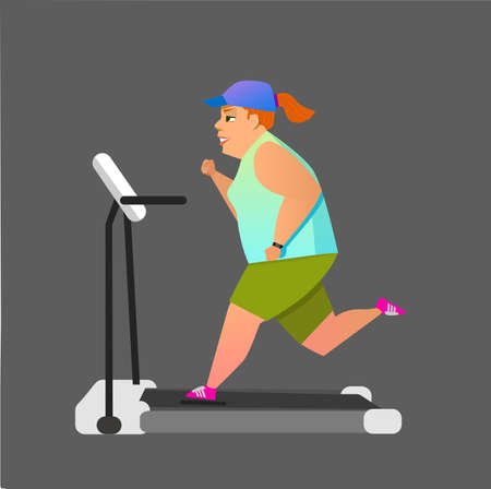 Fat girl running on treadmill. Flat style modern vector illustration.