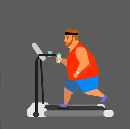 get a workout: Obese young man running on a treadmill. vector illustration Illustration