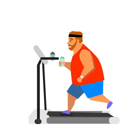 Obese young man running on a treadmill. vector illustration Illustration