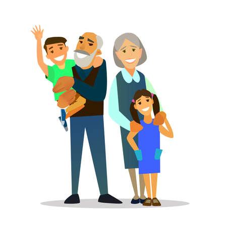 grandchildren: Grandparents with their grandchildren. Vector illustration of a flat design Illustration