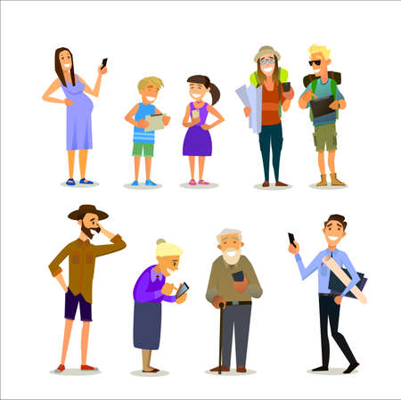 Mobile dependence. People with their gadgets. Vector illustration in a flat style Illustration