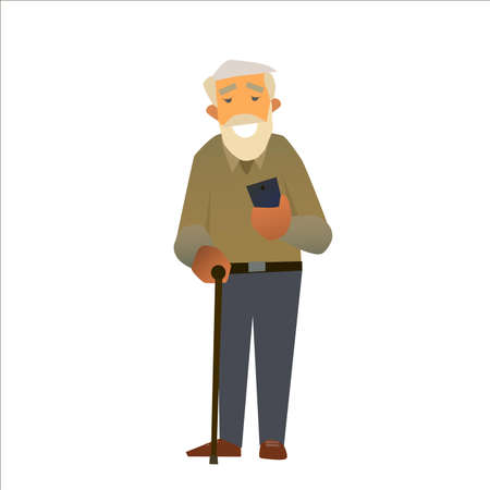obsessed: A grandfather is smiling holding a smartphone. Vector illustration of a flat design. Illustration