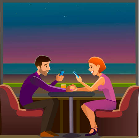 obsessed: Couples couple holding a smartphone. Vector illustration of a flat design.