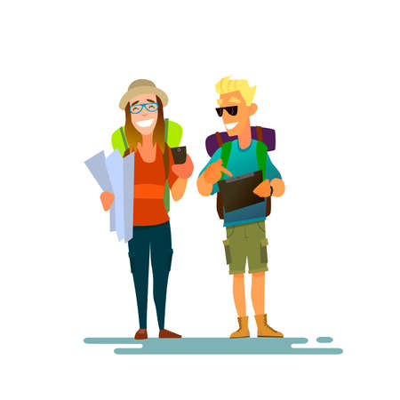 obsessed: A couple of tourists. Girl looking for the road on the map and smiling guy already found a tablet on the road .Vector illustration of a flat design.