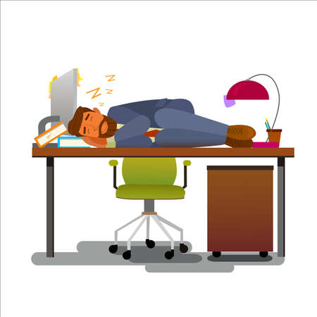 Exhausted office worker sleeping on his work Desk.Flat design modern vector illustration.