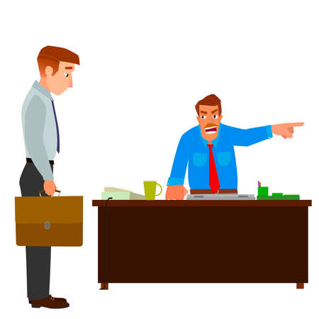 resign: Boss dismisses employee, pointing his finger at the door.Flat design modern vector illustration.