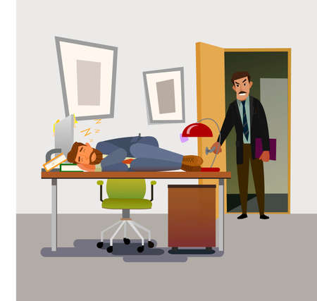side viewing: Boss caught sleeping in the office employee. Tired business man. vector illustration.