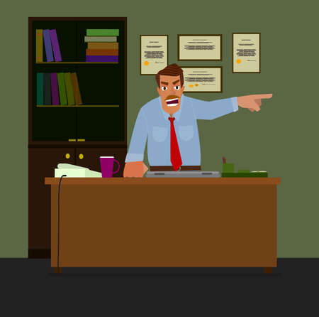 resignation: Angry boss pointing at the door. The concept of employee layoffs..Flat design modern vector illustration.
