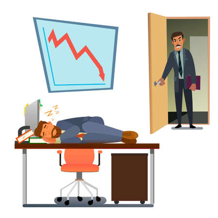 Boss caught sleeping in the office employee. Tired business man. vector illustration.
