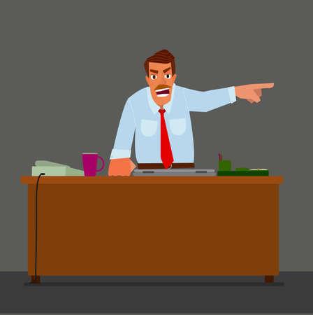 Angry capo indicando la porta. Il concetto di lavoratore layoffs..Flat design moderno illustrazione vettoriale. Vettoriali