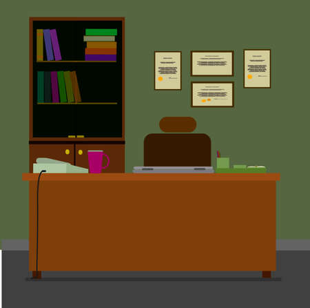 office cabinet: Workplace in office. Cabinet with workspace with table and computer. Flat style vector illustration. Illustration