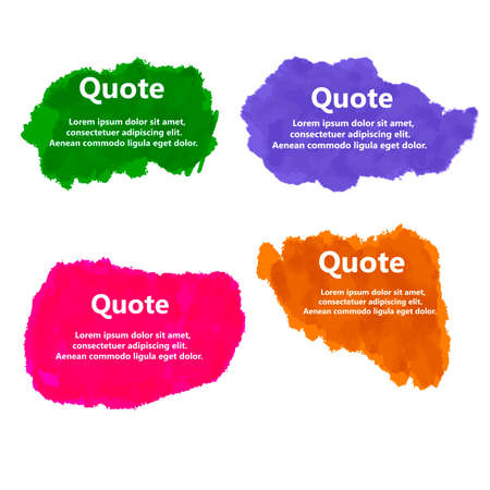 Set of Creative Quote bubble template.Watercolor, ink, splash Quote blank templates.Vector illustration.
