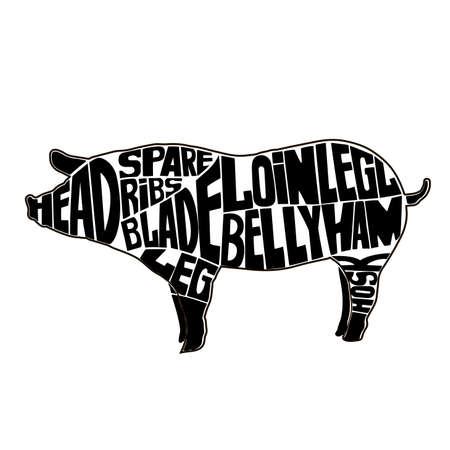 Typographic pig butcher cuts diagram.icon, vector illustration