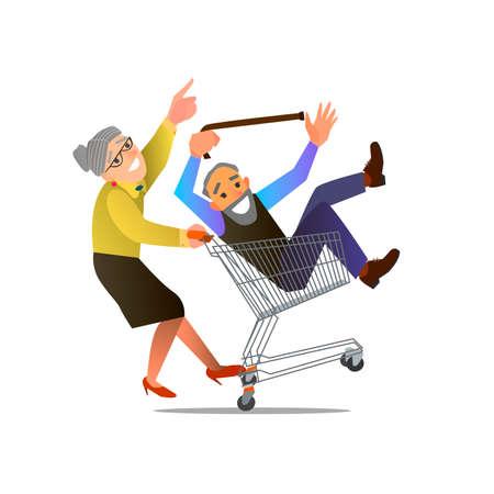 Una pareja de ancianos que engaña alrededor en la ilustración supermarket.Vector de diseño plano.