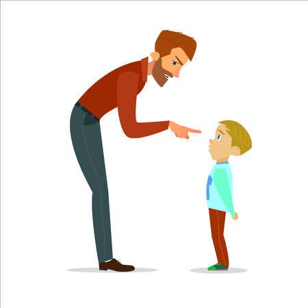 scold: Scold children.Father scolding unhappy boy.Vector illustration of a flat design.