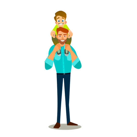 father and child: Father and Son doing Piggy Back Ride. Happy Fathers Day. Vector illustration of a flat design.