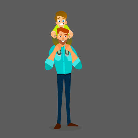piggyback ride: Father and Son doing Piggy Back Ride. Happy Fathers Day. Vector illustration of a flat design.
