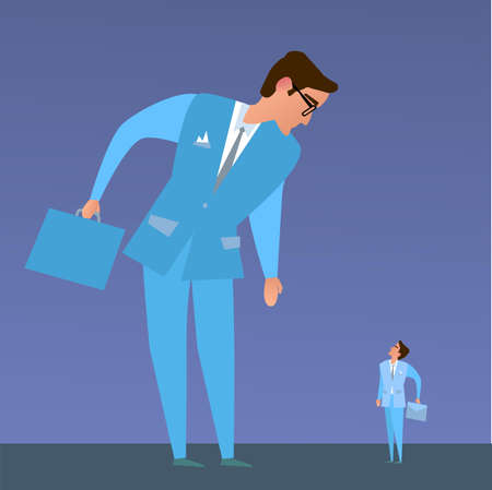 small business: The business competition.Big business and small business. Illustration