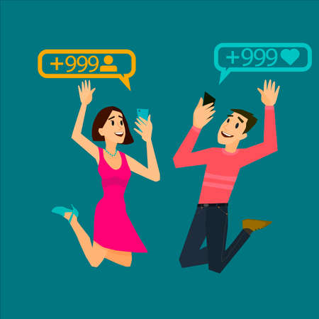 pleased: Happy girl and guy is pleased to the result of subscribers. Mobile dependence. Lifestyle trends.