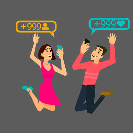 dependence: Happy girl and guy is pleased to the result of subscribers. Mobile dependence. Lifestyle trends.