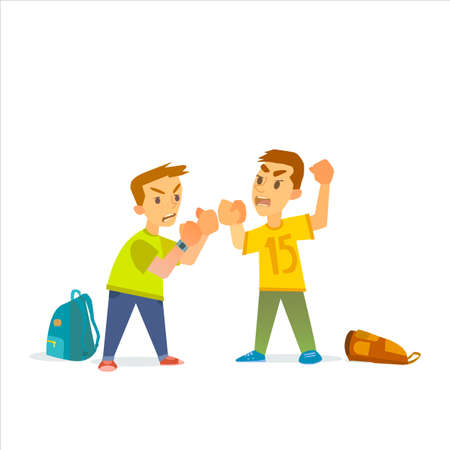 Boys fighting and getting hurt . Illustration of a flat design.