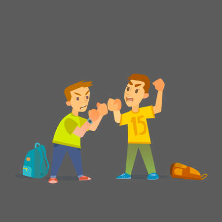 hurt: Boys fighting and getting hurt . Illustration of a flat design.