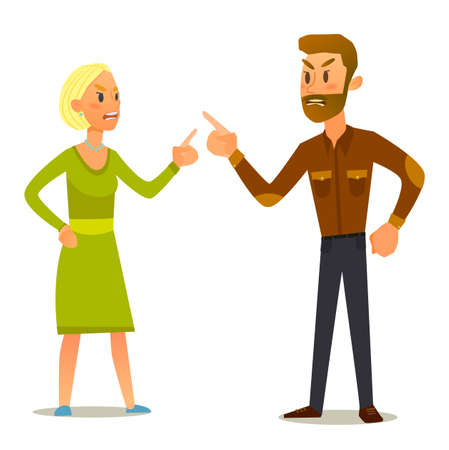 rendezvous: Couple in a fight.Illustration of a flat design.