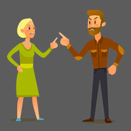 Couple in a fight.Illustration of a flat design