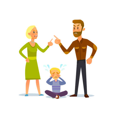 cursing: A little boy crying, cursing when his beloved parents. Illustration of a flat design. Illustration