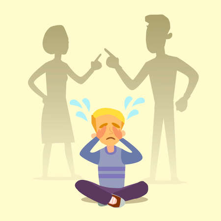 A little boy crying, cursing when his beloved parents. Illustration of a flat design. 向量圖像