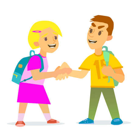 introduce: Boys and girls shaking each other hand Illustration