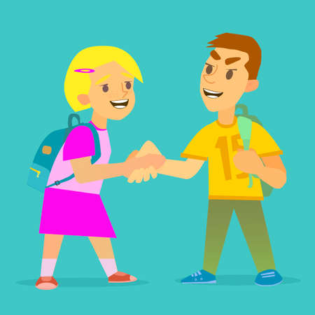 Boys and girls shaking each other hand Illustration