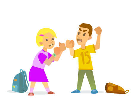 brawl: Boys and girls are fighting and hurt. illustration of flat design.