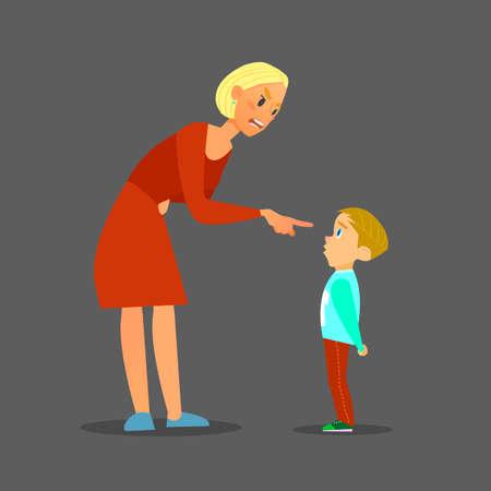scold: Scold children.The mother scolds the poor boy.illustration of flat design. Illustration