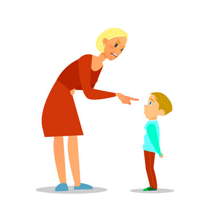 Scold Kindergarten.Der Mutter schimpft die Armen boy.illustration flach ausgebildet. Standard-Bild - 64202232