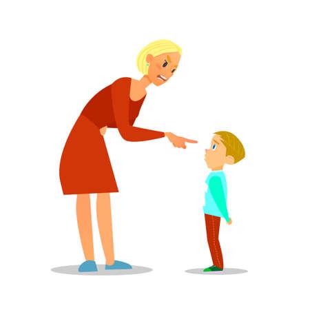 Scold children.The mother scolds the poor boy.illustration of flat design. Illustration