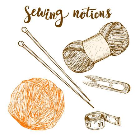 needlewoman: Sewing notions. Hand drawn thread, needle, scissors, ball of yarn, knitting needles, crochet. Vector illustration