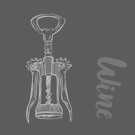 Corkscrew. The wine illustration in sketch style. Vector illustration on isolated background . Classic alcoholic beverage. Design for web, info graphics.