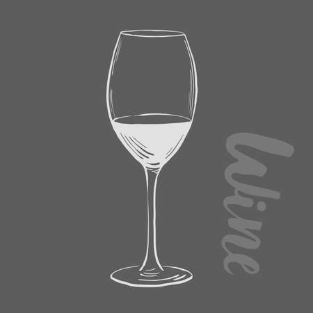 winemaking: Wine illustration. Winemaking products in sketch style. Vector illustration on black background. with wine glass. Classical alcoholic drink. Design For web, info graphics.