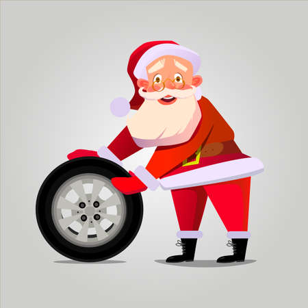 Santa Claus drives the wheel. The perfect Christmas design for a banner for the garage. Vector illustration.